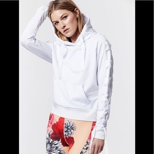 CARBON38 Criss Cross white Ribbon Hoodie,XS